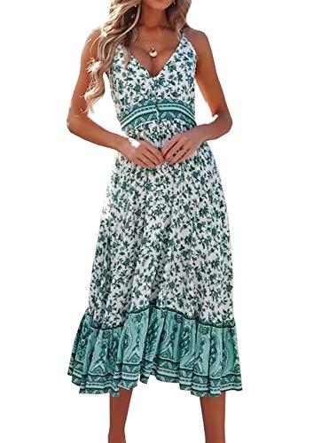 R.Vivimos Womens Summer Floral Long Boho Dress Spaghetti Straps Buttons Midi Dress (Medium, WhiteGreen)