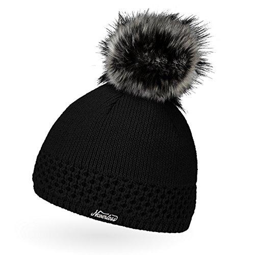 Neverless® gefütterterte Damen Strickmütze mit Fell-Bommel, Kunstfell, Winter-Mütze, Bommelmütze, schwarz Unisize
