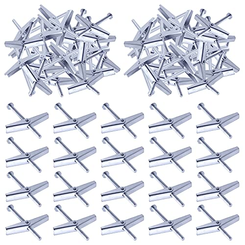 Swpeet 60Pcs 1/8 Inch Toggle Bolt and Wing Nut Kit for Hanging Heavy Items on Drywall