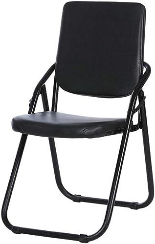Nevy Chaise Pliante en Cuir PU Chaise D'ordinateur en Métal Chaise De Conférence en Métal Chaise De Rangement Portable Chaise De Salon Chaise De Bureau Chaise De Personnel (Couleur   noir 1)
