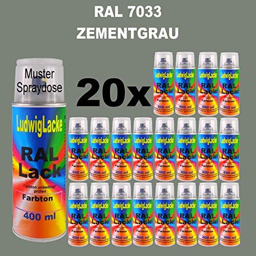 20 Spray de laque Auto Boîtes 400 ml Brillant RAL 7033 Ciment gris