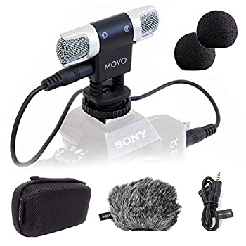 Movo VXR3000 Universal Stereo Microphone with Foam and Furry Windscreens and Travel Case - for iPhone and Android Smartphones Canon EOS Nikon DSLR and Action Cameras