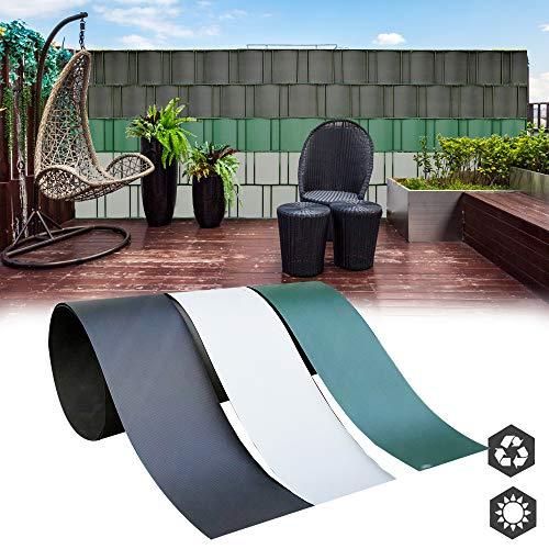 interGo 10 Stück Hart PVC Sichtschutzstreifen, Sichtschutz Windschutz Garten für Doppelstabmattenzaun Zaun Zaunsichtschutz für Gartenzaun, Balkon- Anthrazit(2,5m*19cm)