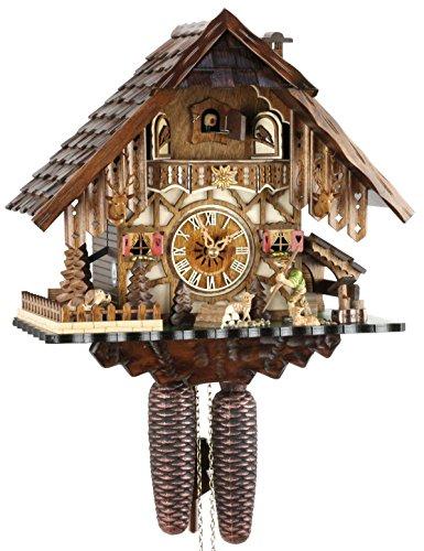 Orologio a cucù originale della foresta nera, in vero legno, meccanismo a 8 giorni, certificato VDS, Eble, casa della foresta nera, 35 cm, 22293