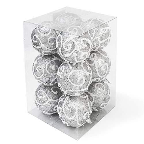 allgala Christmas Tree Ornament Balls, 12 PK Glitter Decorated Foam 3 Silver Large Xmas Ball