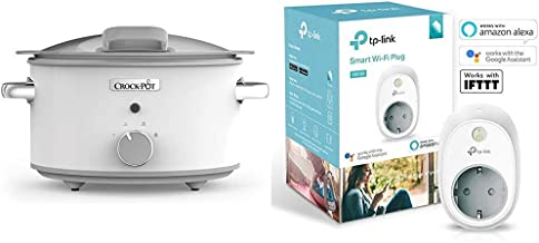 Crock-Pot DuraCeramic CSC038X Olla de cocción lenta manual 4,5 l, Acero Inoxidable, Blanco + TP-Link HS100 - Enchufe inteligente para controlar sus dispositivos