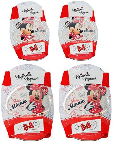 alles-meine.de GmbH 4 TLG. Set:  Disney Minnie Mouse  - Knieschützer + Ellenbogenschützer - für Circa 5 bis 12 Jahre - für Kinder - Gelenkschützer Knieschoner rosa pink Mädchen..