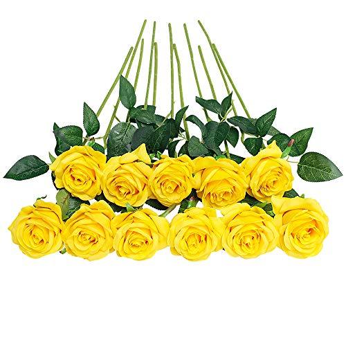 JUSTOYOU 10 PCS Rose Kunstseidenblumen Blumenstrauß Home Office Hochzeitsarrangements (Gelb)