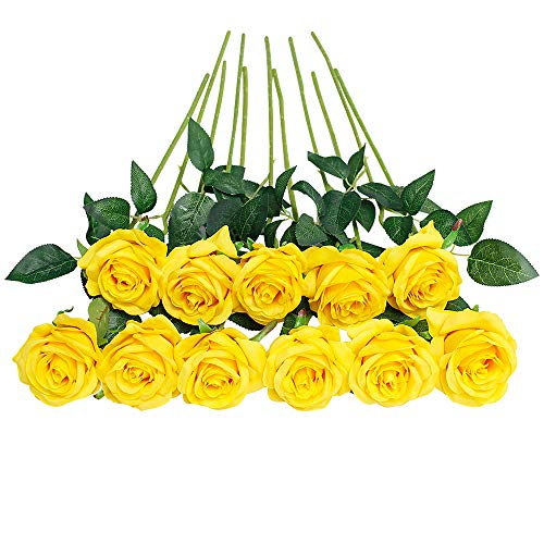 JUSTOYOU 10 Pack Artificial Silk Rose Flowers Wedding Bouquets(Yellow)