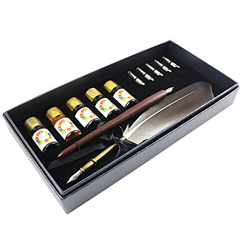 FEATTY GIFTS Calligraphy Pen Set,12-Piece Kit, 5 Nib & 5 Ink Set,Writing Quill Pen,Anitque Dip Feather Pen Set (wood+feather)