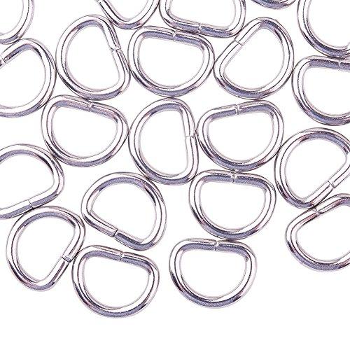 Aros de hierro en forma de D para cadenas de PandaHall, 100 unidades, Stainless Steel-2, 10x14mm