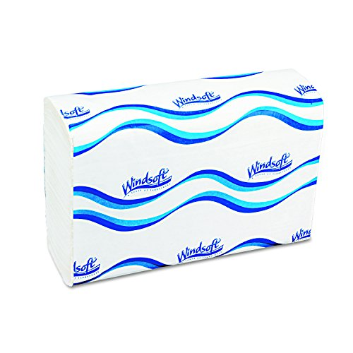 "Windsoft 101 1 Ply Embossed C-Fold Paper Towel, 13-1/5"" Length by 10-1/10"" Width, White (12 Pack of 200)"