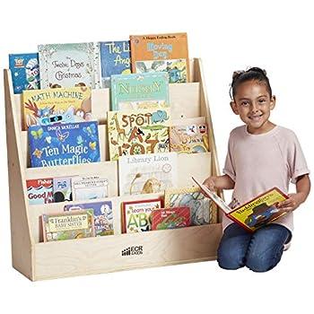 ECR4Kids Birch Streamline Book Display Stand Wood Book Shelf Organizer for Kids 5 Shelves Natural