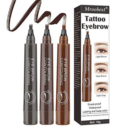 Eyebrow Tattoo Pen, Eyebrow Pencil, 3 Farben Tattoo Augenbrauenstift, Innovativer gegabelter flüssiger Augenbrauenstift, Der die natürliche Augenbrauenform auf einfache Weise umreißt