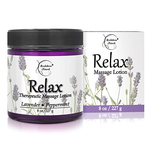 Relax Therapeutic Massage Lotion – All Natural Enriched with Lavender & Peppermint Essential Oils Perfect for Massage Therapy - Massage Cream for Full Body Massage - Brookethorne Naturals 8oz