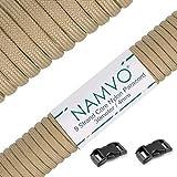 Namvo 100 pies, 9 hilos internos, fuerte resistencia a la rotura, 4 mm de diámetro, 550 cuerda de paracaídas de nailon tipo III, color beige