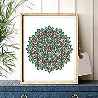 ポスター マンダラプリントビンテージ装飾的な要素ポスターカラフルなフラワーアートキャンバス絵画壁の写真居間の家の装飾 MDYJP (Color : B, Size (Inch) : 30x40cm No Frame)