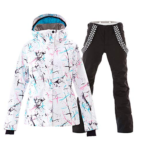 Women's Ski Jackets and Pants Set Windproof Waterproof Snowsuit Black XL