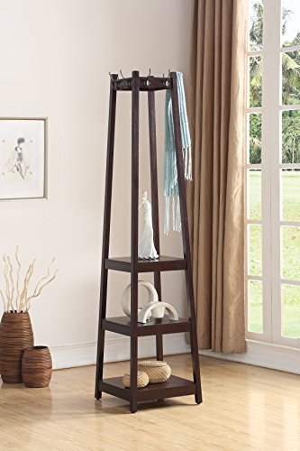 Roundhill Furniture Vassen Coat Rack with 3-Tier Storage...