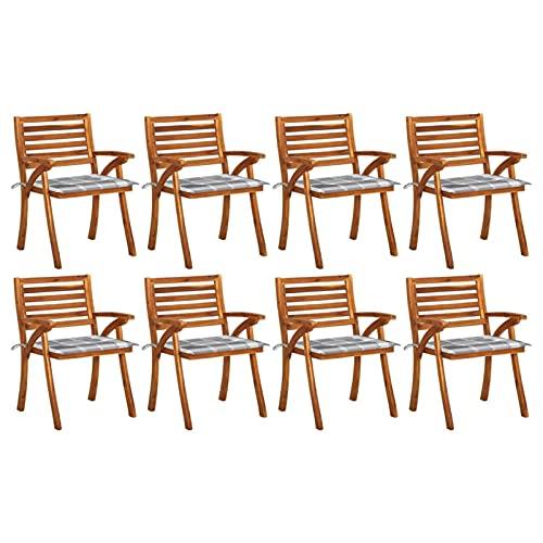 Tidyard Conjunto de 8 Sillas de Comedor de Jardín con Cojines Asiento para Terraza Sillón de Patio Muebles Exterior Madera Maciza Teca 59x59x87 cm Cuadros Grises