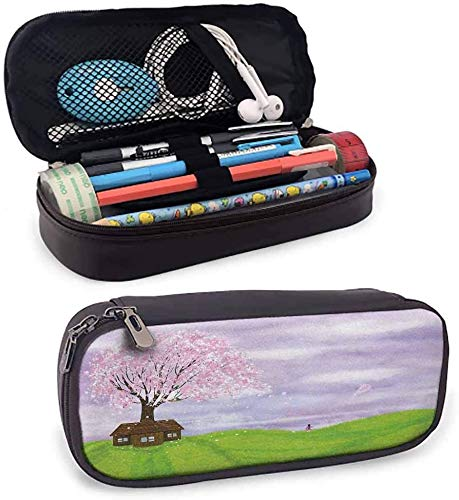 KLKLK Estuche Nature Pen Box Single House by Blooming Spring Tree and Little Girl with Kite Idyllic Picture Perfect Gift Lime Green Lilac