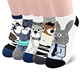 SUNWIND Cute Cartoon Female Socks 5 Pairs,Novelty Cotton Funny Animal Seamless Socks for Women and Girls (Einfache Tiersocken)