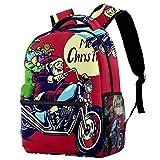 Mochila para deportes al aire libre y escuela, bolsa de transporte multifuncional Santa Claus conducción de moto mochila