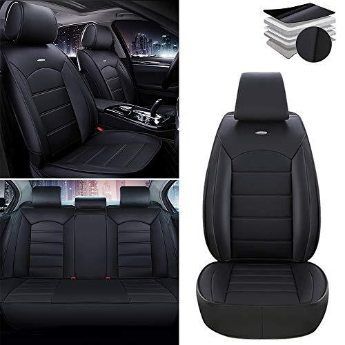 Fundas para asientos de coche para Toyota RAV4 4Runner Hilux Highlander Corolla Camry Prius Tundra Tacoma, funda de asiento de piel sintética impermeable, juego completo estándar negro