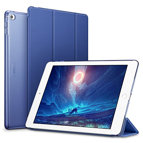 ESR iPad Air 2 Hülle, Auto aufwachen/Schlaf Funktion Wickelfalz Ledertasche mit Lichtdurchlässig Rückseite Abdeckung Schutzhülle für iPad Air 2 / iPad 6 (Marineblau)