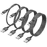 RAVIAD iPhone Ladekabel, Lightning Kabel [4Pack 0.3M+1M+2M+3M] Nylon iPhone Kabel für iPhone 11/11 Pro/XS/XS Max/XR/X/8/8 Plus/7/7 Plus/6s/6/6 Plus/5S/5/SE 2020 - Schwarz
