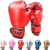 Luniquz Boxing Gloves for Kids Punching Bag Sparring Fit Boys Girls, 6 OZ Red