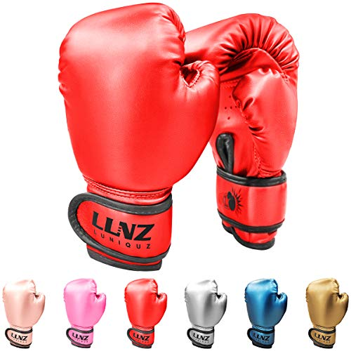 Luniquz Boxing Gloves for Kids Punching Bag Sparring Fit Boys Girls, 4 OZ Red