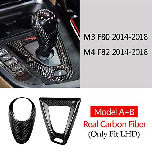 WJSXJJ Echte Kohlefaser für BMW M2 für F87 M3 F80 für M4 F82 F83 für F85 F86 F10 für F12 F13 Getriebeschaltknopf Baseabdeckung Trim Aufkleber Zubehör (Color : Model A B LHD)
