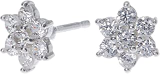 1ad0139a6 Claire's Girl's Sterling Silver Cubic Zirconia 8MM Flower Stud Earrings