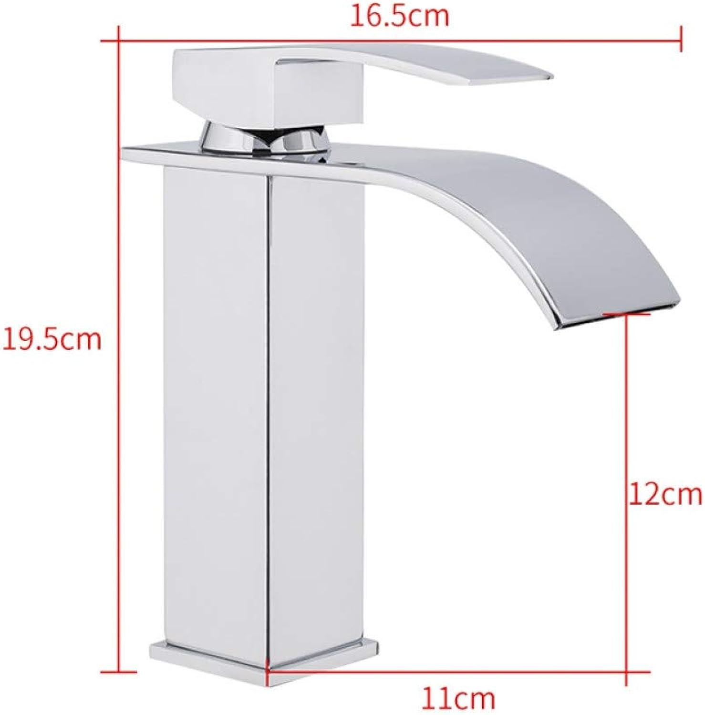 ZHFJGKR&ZL Vanity Sink Faucet Single Handle Waterfall Bathroom Mixer Deck Mounted Hot & Cold Water Sink Faucet