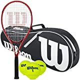 Wilson Federer Pre-Strung Oversized/Extended Black/Red Tennis Racquet (4 3/8' Grip) Set or Kit Bundled with a Black/White Advantage 2-Pack Tennis Racket Bag and a Can of Tennis Balls