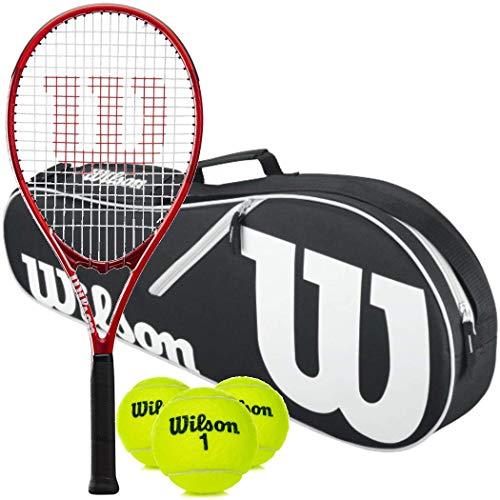 "Wilson Federer Pre-Strung Oversized/Extended Black/Red Tennis Racquet (4 3/8"" Grip)"