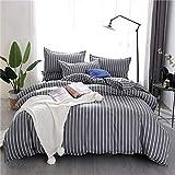 Fostudork Abstractism Bed Linen 3/4pcs Bedding Set Geometric Stripe Bedclothes AB Side Duvet Cover + Flat Sheet + Pillowcase Home Textile,yehua,3pcs,Flat Bed Sheet