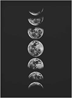 Minimalist Full Moon Poster Art Black White Moon Phases Prints Solar System Canvas Picture Painting Decoration for Living Room,20x25cm No Frame,01
