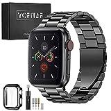 【2021改良モデル】YOFITAR Apple Watch バンド 保護ケース付き ステンレス製 40mm アップルウォッチ 交換ベルト Apple Watch 6/SE/5/4対応 iWatch バンド Apple Watchアクセサリ 長さ調整器具付き(ブラック)