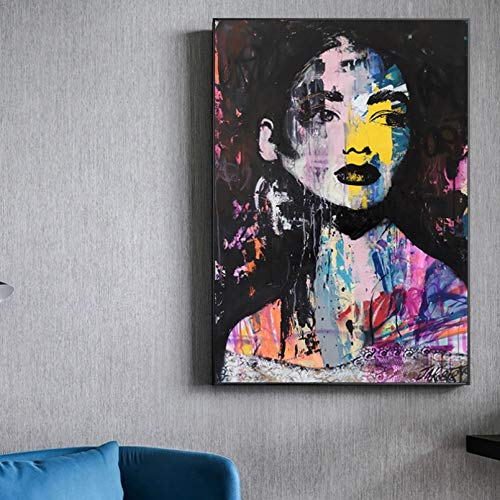 N/A Pittura su Tela Stampa Graffiti Art Girl Face Painting Pittura a Olio Wall Art Immagini per Soggiorno Modern Canvas Print Decorazioni Colorate Casa Muro Decorazione Regalo