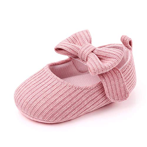 Infant Baby Shoes Soft Sole Mary Jane Flats Bowknot Ballerina Princess Wedding Dress Prewalker Crib Shoes Baby Sneaker Shoes (Pink, 6_Months)