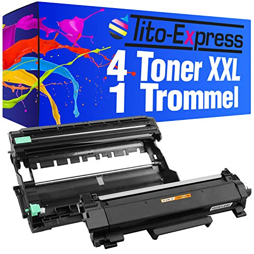 Tito-Express Platinum Serie 4x Toner & 1x Trommel Super-XL voor Brother TN2420 DR2400 TN 2420 DR 2400 DCP HL MFC L DCP-L HL-L MFC-L 2310 2350 2357 2370 2510 2530 2537 2550 2710 2730 2735 2750 D DN DW