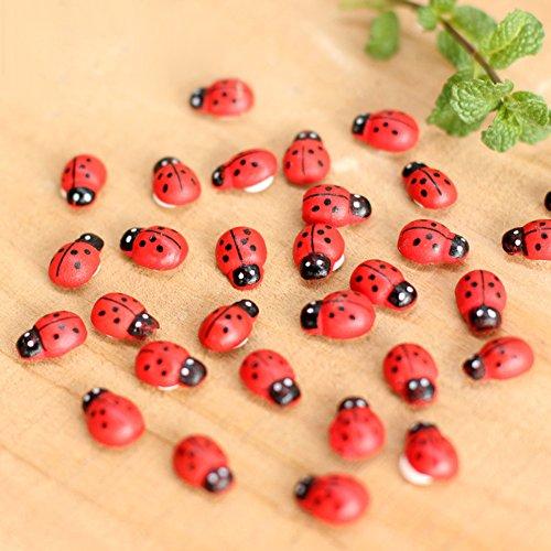 Yintiod 10 stuks mini lieveheersbeestje rode kevers lieveheersbeestje fee poppenhuis tuin decoratie ornament