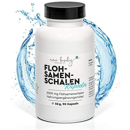 new body® Flohsamenschalen in Kapselform - kein Pulver - 2000 mg - ausgezeichnete Wirkung auch bei Sport oder zur Diät. Zur Unterstützung ihrer Darmaktivität. 90 Kapseln hochdosiert. Made in DE
