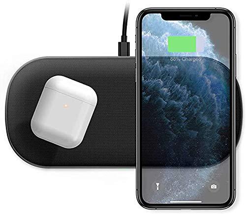 Dual Fast Wireless-Ladegerät, 5 Spulen 10/7,5 W Wireless-Ladekissen Kompatibel mit iPhone SE 2020/11 Pro / 11 Pro Max/XR/XS Max/X, Galaxy S20