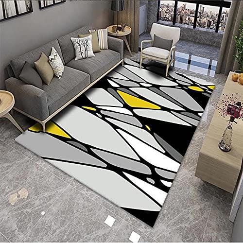 CLYDX Alfombras Salon Habitación Alfombra Pasillo Lavables Rug Dormitorio Sala de Estar Alfombra Antideslizante Alfombra para el Juego de los niños Decora el 120x160 cm (Geometría Gris)