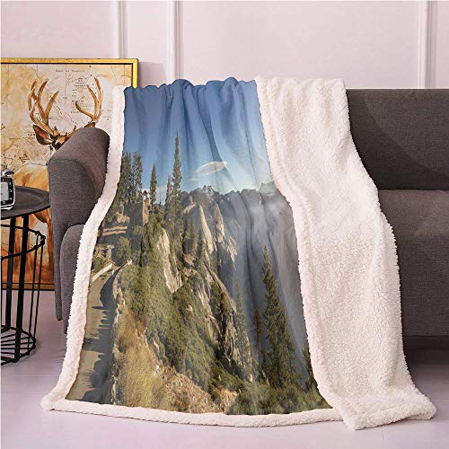 Landscape Sherpa Blankets,Breathtaking Panoramic Photo of Yosemite Valley Hills at Dawn Wanderlust Lightweight Fluffy Flannel,for Sofa Couch Bed Plush Blanket(50x60,Multicolor)
