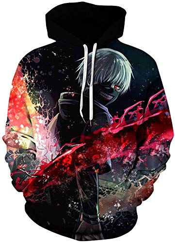 AMOMA Jungen Digitaldruck Kapuzenpullover Tops Fashion Hoodie Pullover Hooded Sweatshirt(Large/X-Large,Tokyo Ghoul)