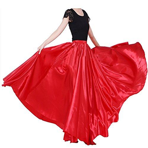 Womens Elegant Ballroom Long Latin Belly Dance Full Circle Dance Skirt (red)